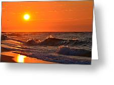 Awesome Red Sunrise Colors On Navarre Beach With Shore Waves Greeting Card