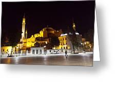 Aya Sophia In Istanbul Turkey At Night Greeting Card by Raimond Klavins