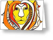Golden Aztec Lion Greeting Card