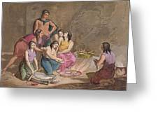 Aztec Women Making Maize Bread, Mexico Greeting Card