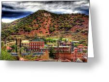 B Hill Over Historic Bisbee Greeting Card