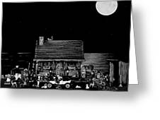 B/w Log Cabin And Outhouse Scene With The Classic Old Vintage 1908 Model T Ford Greeting Card by Leslie Crotty