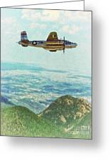 B25 Miss Mitchell Bomber Flying By Shawna Mac Greeting Card