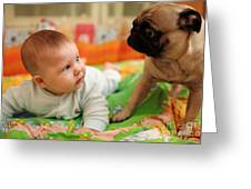 Baby And Dog Greeting Card