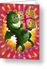 Baby Birthday Dragon With Present Greeting Card
