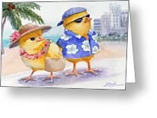 Baby Chicks In Honolulu Hawaii Greeting Card