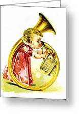 Baby Girl With A French Horn Greeting Card