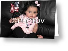 Baby Girl With An American Flag And Voting Sticker - Limited Edition Greeting Card by Hisham Ibrahim