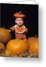 Baby In Pumpkin Costume Greeting Card
