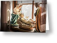 Baby Jesus Welcoming A New Day Greeting Card by Nancy Strahinic