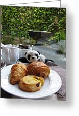 Baby Panda And Croissant Rolls Greeting Card