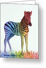 Baby Rainbow Zebra Greeting Card