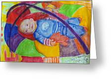 Baby Ted In Motion Portrait  Greeting Card