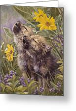 Baby Wolves Howling Greeting Card by Lucie Bilodeau