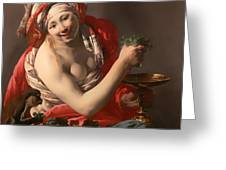Bacchante With An Ape Greeting Card
