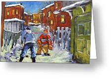 Back Lane Hockey Shoot Out By Prankearts Greeting Card