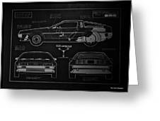 Back To The Future Delorean Blueprint 1 Greeting Card