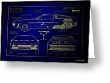 Back To The Future Delorean Blueprint 2 Greeting Card