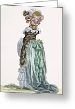 Back View Of A Promenade Gown, Engraved Greeting Card