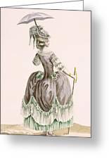 Back View Of Ladys Grey Promenade Greeting Card
