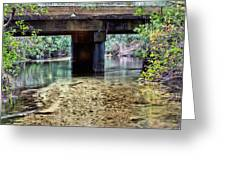 Back Water River Bridge Greeting Card