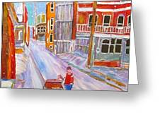 Backlane Snow Greeting Card