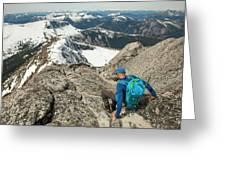 Backpacker Descending Needle Peak Greeting Card