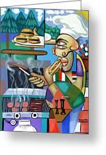Backyard Chef Greeting Card by Anthony Falbo
