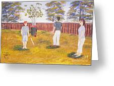 Backyard Cricket Under The Hot Australian Sun Greeting Card