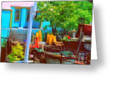 Backyard In Bright Colors Greeting Card