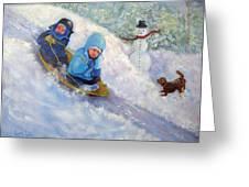 Backyard Winter Olympics Greeting Card