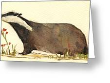 Badger With Flowers Greeting Card by Juan  Bosco