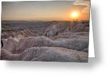 Badlands Overlook Sunset Greeting Card