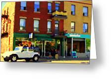 Bagels And Tea St Viateur Bakery And Davids Tea Room Montreal City Scenes Art Carole Spandau Greeting Card
