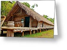 Bahnar Home With Extension As Family Grows At Museum Of Ethnology In Hanoi-vietnam  Greeting Card