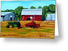 Bailing Hay Greeting Card