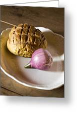 Baked Bread And Onion Greeting Card