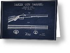 Baker Gun Barrel Patent Drawing From 1877- Navy Blue Greeting Card