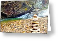 Balanced River Rocks At Birdrock Waterfalls Filtered Greeting Card