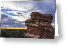 Balanced Rock At Sunrise - Garden Of The Gods - Colorado Springs Greeting Card
