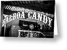 Balboa Candy Sign On Balboa Island Newport Beach Greeting Card