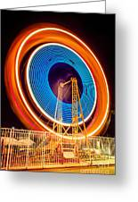 Balboa Fun Zone Ferris Wheel At Night Picture Greeting Card