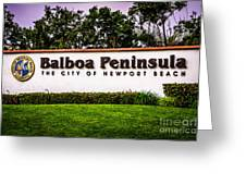 Balboa Peninsula Sign For City Of Newport Beach Picture Greeting Card