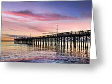 Balboa Pier Sunset Greeting Card by Kelley King