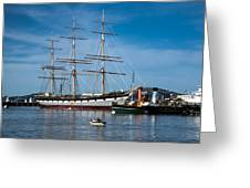 Rowing Past Balclutha And Steamship Eppleton Hall Greeting Card