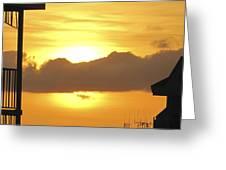 Key West Balcony Sunset Greeting Card