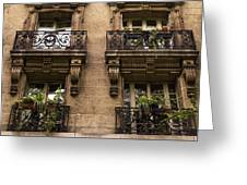 Balcony Windows In Montmartre Greeting Card