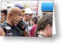 Bald Biker Greeting Card