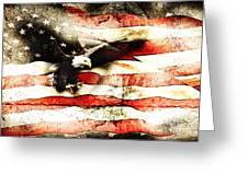 Bald Eagle Bursting Thru Flag Greeting Card