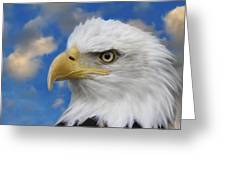 Bald Eagle In The Clouds Greeting Card